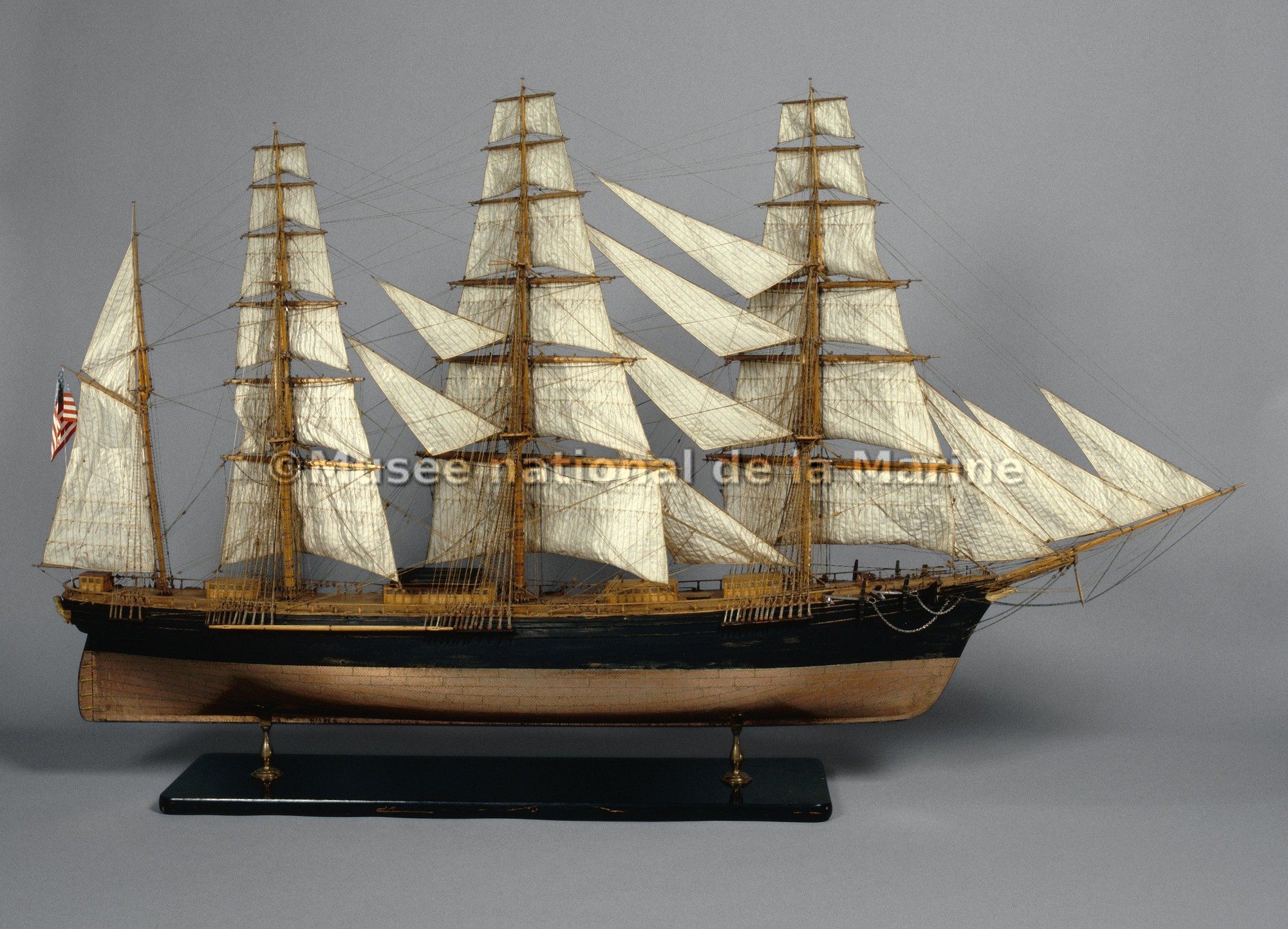 Great Republic, clipper de Boston, 1853, vue de travers tribord